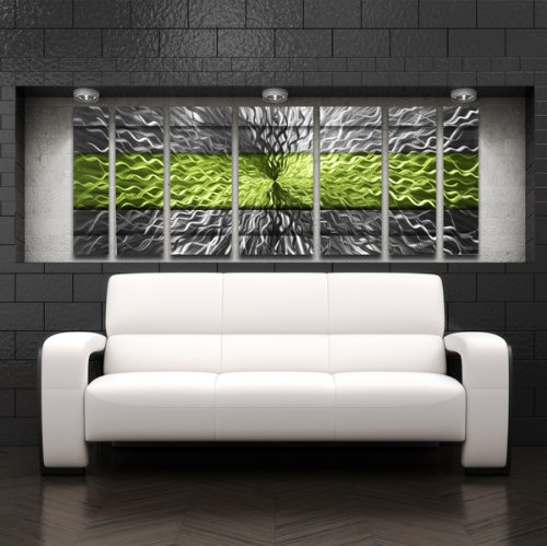 Green Metal Wall Art Panels Modern Contemporary Abstract
