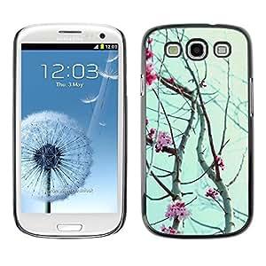 FECELL CITY // Duro Aluminio Pegatina PC Caso decorativo Funda Carcasa de Protección para Samsung Galaxy S3 I9300 // Sky Rose Flowers Spring Nature Branches