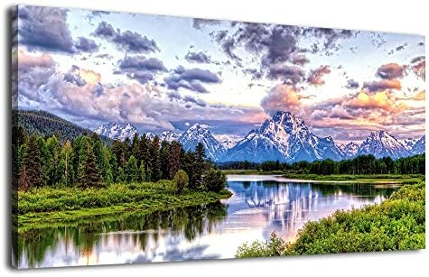 National Park Landscape Canvas Wall Art Nature Picture Oxbow Bend Grand Teton Modern Canvas Artwork River and Forest Contemporary Wall Art Large Size
