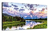 Canvas Wall Art Nature Painting Oxbow Bend Grand Teton National Park Mountains River Sunset Clouds Modern Canvas Artwork Lake Panoramic Contemporary Pictures for Home Office Decoration 20'' x 40''