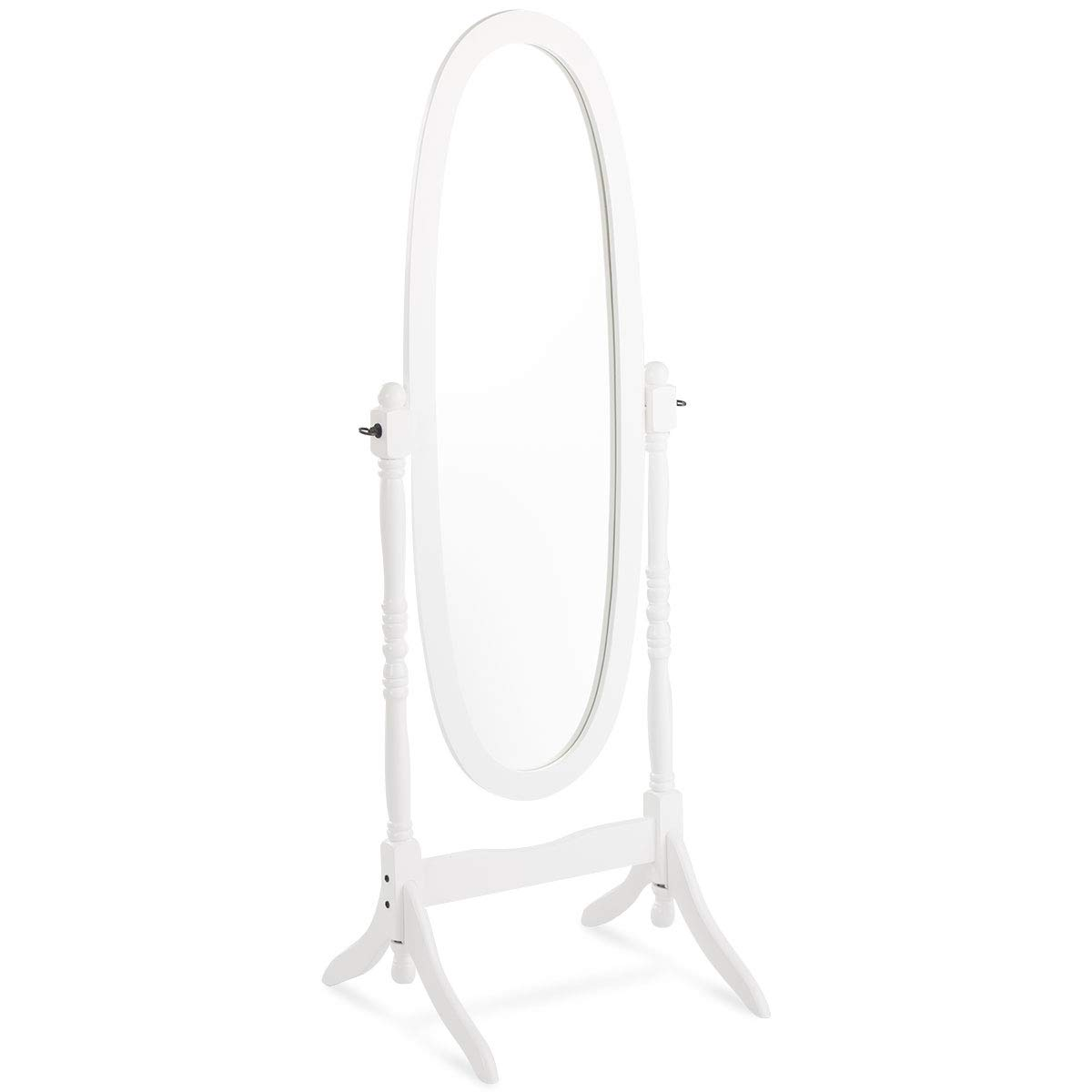 Giantex Bedroom Wooden Floor Mirror Full Length Cheval, 100% Solid Oak Wood Frame Rustic Rotary Swivel Mirror Stand, Free Standing Home Floor Dressing Mirror (White Oval Mirror)