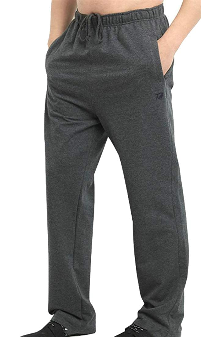 Cromoncent Mens Plus Size Drawstring Fitness Solid Color Fall Winter Elastic Waist Cargo Trousers Pants