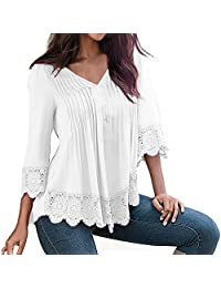 SUNNOW Women's V-Neck 3/4 Long Sleeve Lace Stitching Black T-shirt Top Blouse
