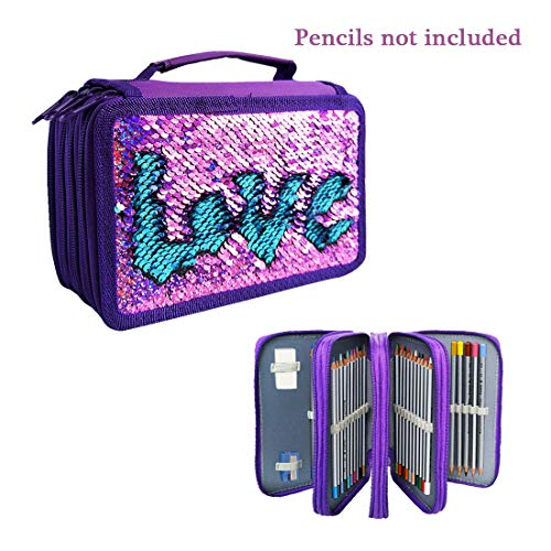 Sparkly Flip Sequins 72 Slots Pencil Case Zippered Colored Pencil Pouch Crayon Organizer Bag Cosmetic Brush Holder (Violet-Blue) (Hand Sewn Oxford)