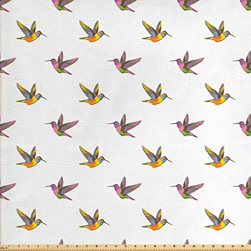 (Lunarable Hummingbird Fabric by The Yard, Exotic Animal Illustration Colorful Retro Hawaiian Composition Vintage Nature, Decorative Fabric for Upholstery and Home Accents, Multicolor)