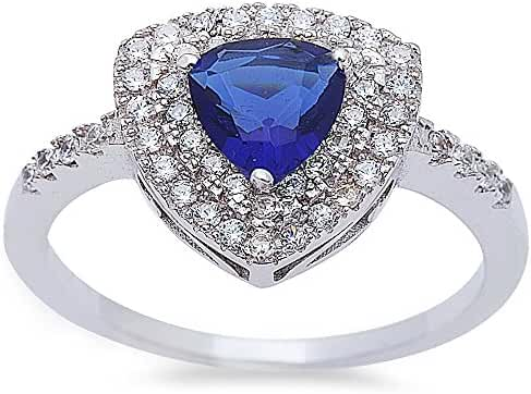 Trillion Shape Simulated Blue Sapphire & Cubic Zirconia Fashion .925 Sterling Silver Ring Sizes 5-10