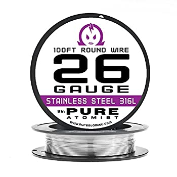 26g - Stainless Steel 316L Wire - 26 Gauge / 0.40mm - 100' Roll by Pure Atomist