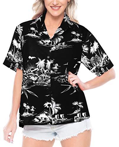 (LA LEELA Likre Camp Casual Aloha Beach Collar Shirt Black 404|L - US 38 - 40D)