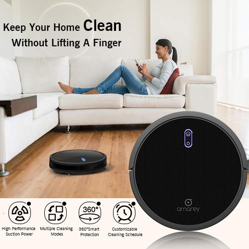 amarey A800 Robotic Vacuum - 1400pa Powerful Suction with 4 Cleaning Modes, Customizable Cleaning Schedule,360° Anti-Collision & Drop Sensor Protection, Auto Charging, Robot Cleaner for All Floors