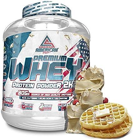 100% Whey Proteína en Polvo, Whey Protein, Suplementos deportivos, American Suplement, Chocolate Blanco con Gofre - 2Kg.