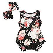 Baywell Baby Girl Romper Outfit Set, Sleeveless Floral Printed Bow-Knot Headband 2 PCs (M/3-6M/73, Black)