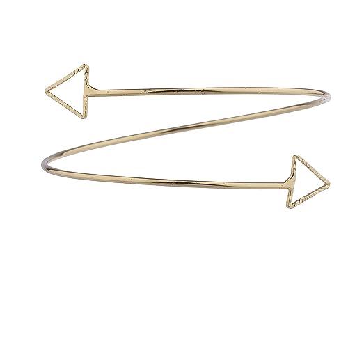 LUX accesorios dorado Swirl pulsera de alambre de metal triángulo ...