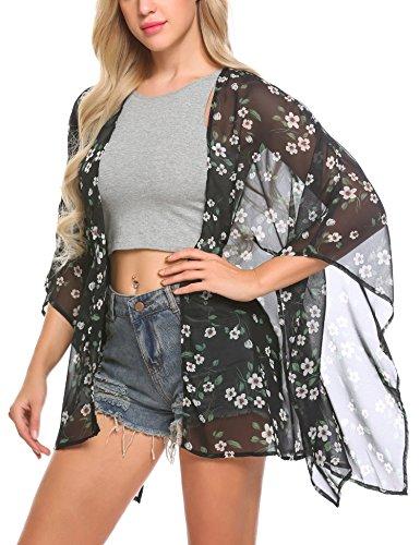 Mofavor Women's Floral Print Chiffon Open Front Kimono Cardigan Capes Black&White (Black And White Chiffon)