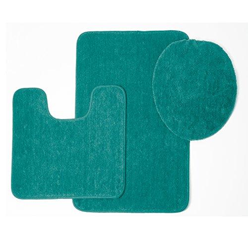 Brandy 3 Piece Solid Frieze Bathroom Shower Tub Rug Set, Bath Mat, Contour, Toilet Seat Lid Cover (Turquoise) - Toilet Seat Covers Sets