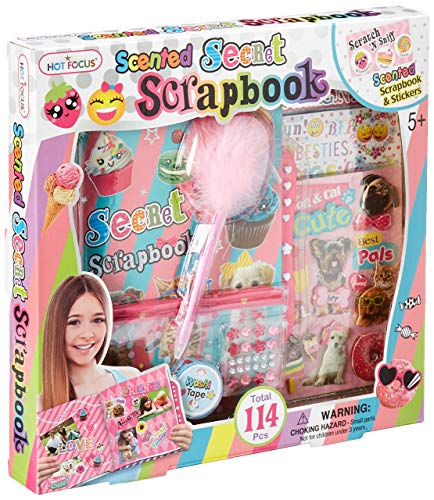 (Hot Focus Scented Secret Scrapbook for Arts and Crafts Project Set/Kit. Includes a 60 Page Album with Passcode Lock, Scented 3D Stickers, Jewels. Great for Kids/Girls/Tween.)