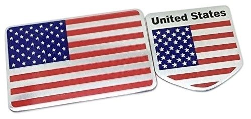2 Pack - Aluminum American Flag Stickers / Decals, For Car Or Anywhere, Weatherproof And Durable Metal Material USA Flag And Emblem Badge Stickers