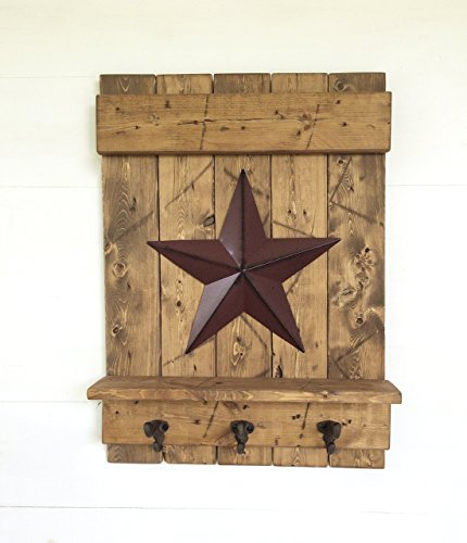 Distressed Early American Light Brown Wooden Wall Shelf with Metal Barn Star and - Cast Iron Apple Lodge