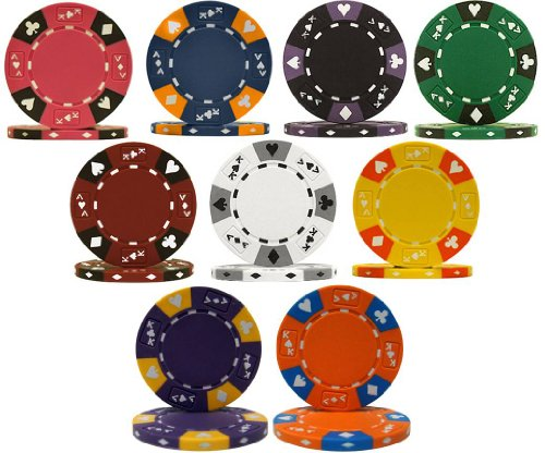 (TMG Ace King Suited 3 Color Clay 14gm Poker Chip Sample Set - Includes Bonus Chip Spacer!)