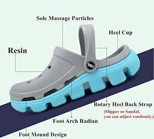 Polliwoo Unisex Adult Back Strap Sandal Girls Boys Garden Beach Yard Shower Mules EVA Clog Shoes Slippers Light Grey LwZu7VKk