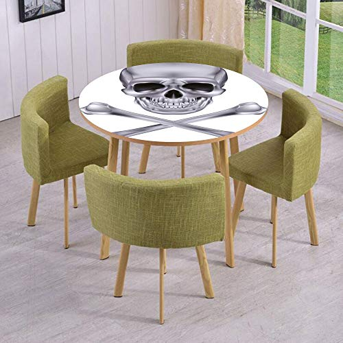iPrint Round Table/Wall/Floor Decal Strikers/Removable/Vivid Skull and Crossbones Dangerous Scary Dead Skeleton Evil Face Halloween Theme Decorative/for Living Room/Kitchens/Office Decoration ()
