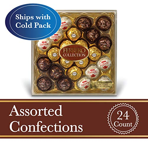 Ferrero Rocher Fine Hazelnut Milk Chocolates, 24 Count, Assorted Coconut Candy and Chocolate Gift Box, 9.1 oz