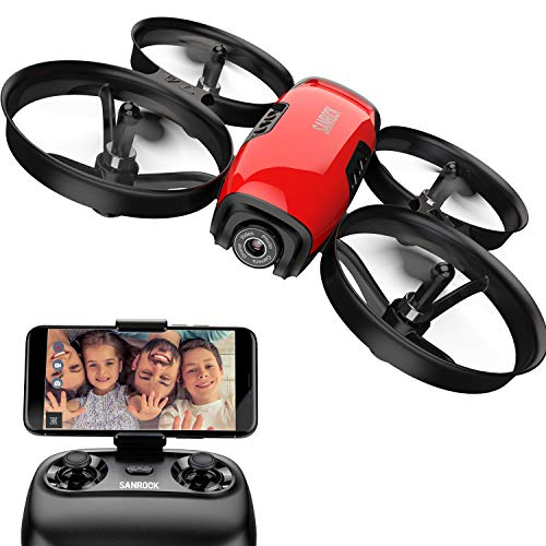 (SANROCK U61W Drone with Camera for Kids and Beginners, APP and Remote Control 720P HD FPV Quadcopter, Intelligent Operation Altitude Hold, Headless Mode, One Button Take Off/Landing, Emergency Stop)