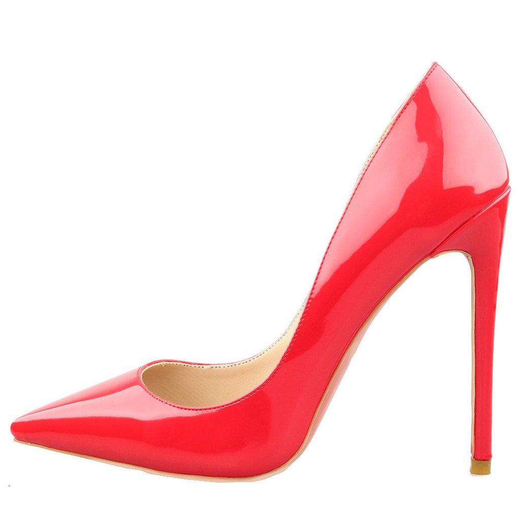 Jushee Damen Sexy Klassische Schwarz Stiletto High Heels Kleid Buuml;ro Pumps36 EU|rot lackleder