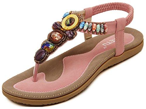 Womens flops Hanxue Shoes Bohemia Flip Flat Pink Sandals aHnwqfdAn
