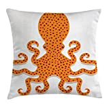 Ambesonne Kraken Throw Pillow Cushion Cover, Cute Spotty Octopus Pattern in Vivid Colors Marine Monster Kids Nursery Theme Print, Decorative Square Accent Pillow Case, 24 X 24 Inches, Orange