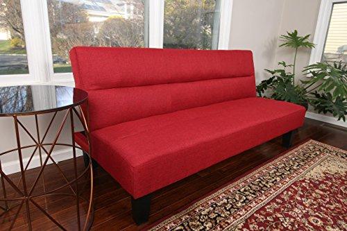 Home Life Textured Linen Sofa Futon with Adjustable Back Klik Klak Bed Sleeper Convertible, 65