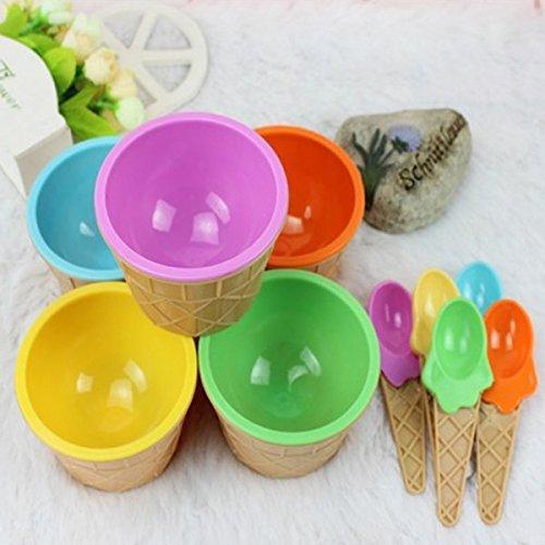 Teanfa Plastic Children Ice Cream Waffle Cone Bowls Spoons Cups Set (Plastic Waffle Cone Bowls compare prices)