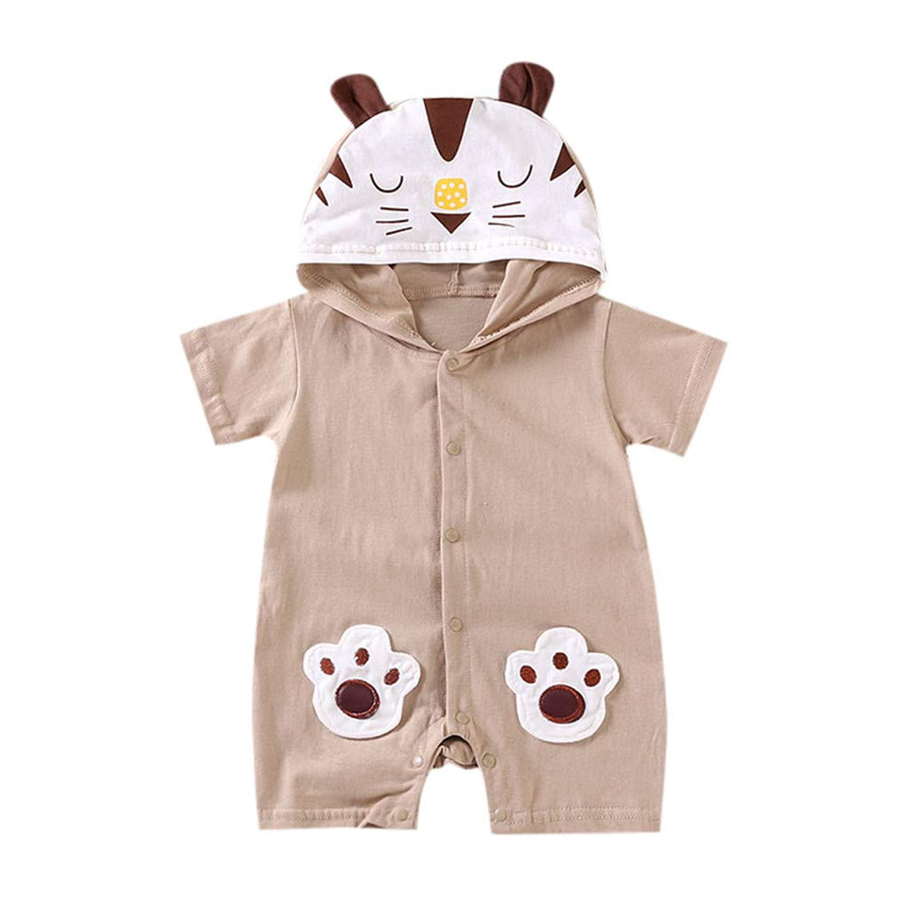 NUWFOR Newborn Baby Boy Girls Cartoon Hoodie Infant Rompers Jumpsuit Outfits Clothes(Coffee,18-24 Months