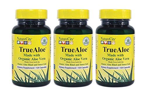 TrueAloe 100% Organic Aloe Vera Capsules - 120 Capsules per bottle - 3 Pack by NatureCity