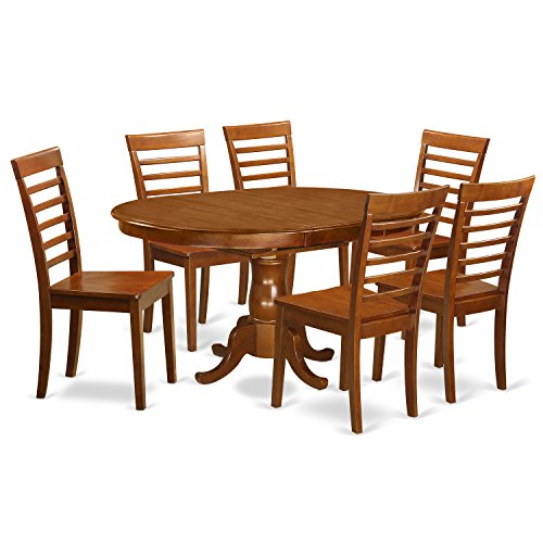 POML7-SBR-W 7 Pc Dining room set for 6-Table with Leaf with 6 Dining Chairs