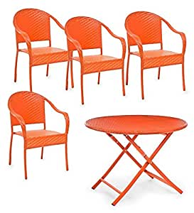 Folding Dining Table and 4 Stacking Chairs, in Orange