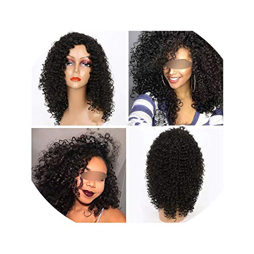 (Long Kinky Curly Afro Wig Blonde Mixed Brown Color Synthetic Wigs for Black Women Heat Resistant)