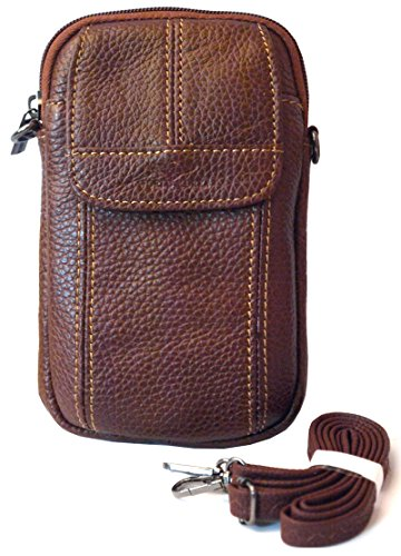 Small Bag Waist Pack Messenger Bags Tactical Cellphone Phone Pouch Bum Leather Travel Bags Cases Holsters Saddlebag (H25 Brown)