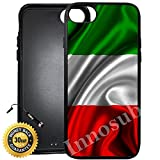 Custom iPhone 7 PLUS Case (Red White Green Italian Italy Flag) Edge-to-Edge Rubber Black Cover with Shock and Scratch Protection | Lightweight, Ultra-Slim | Includes Stylus Pen by Innosub