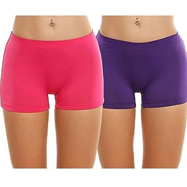 30a1c4d2aa93 Palazen 2 Pack Women's Under Dress Slip Shorts Safety Pants Thin Stretch  Short Leggings for Women