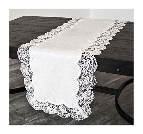 Linens, Art and Things Table Runner Royal Rose 16 x 54 Inch Approx European Antique Lace White Jacquard Dresser Scarf Doily
