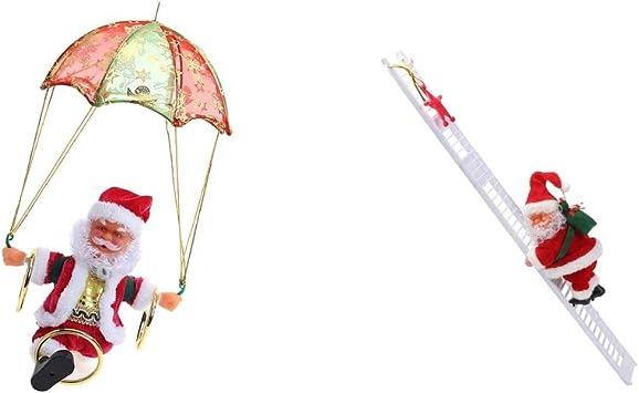 B Blesiya 2 x Figura de Santa Claus Sube Escalera con Papé Noel Salta Paracaídas con Música Decoración para Árbol de Navidad Mesa Hogar: Amazon.es: Juguetes y juegos