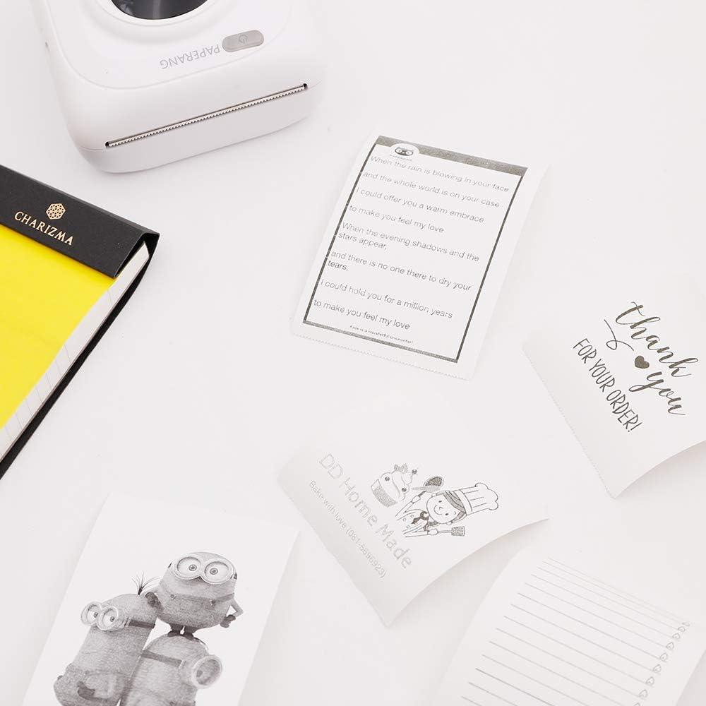 57 x 30 mm senza BPA per stampante termica tascabile Peripage A6//A8 Paperang P1//P2 Carattere nero su giallo//blu//rosa. Carta termica autoadesiva
