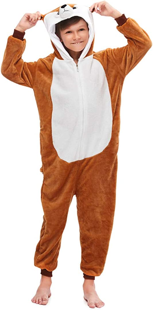 Silver Basic Niñas Niños Fleece One Piece Animal Pijamas Unicorn Tiger Disfraz de Fiesta de Halloween para Niños