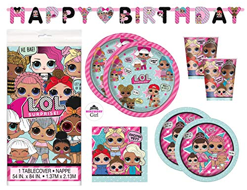 LOL Birthday Party Supplies Set - Dinner and Cake Plates, Cups, Napkins, Decorations (Deluxe with Banner - Serves 16) -