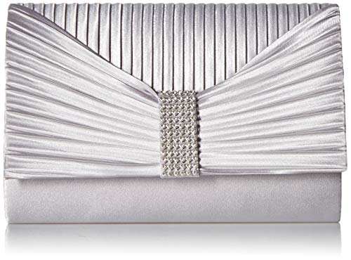 (Jessica McClintock Women's Alexis Pleated Flap with Rhinestones, Silver)