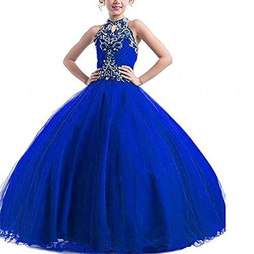 Henglizh Long Beading Ball Gown Formal Party Dress Flower Girl Halter Sequins Pageant Dresses Royal Blue,Size 12