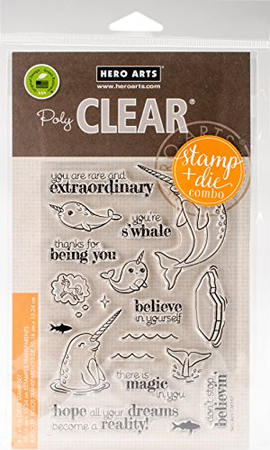 Hero Arts Believe in Yourself Narwhal Clear Stamp and Die Combo by Hero Arts