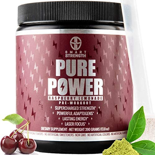Pre Workout, Best All Natural PreWorkout Supplement. PURE POWER, Healthy Pump, Clean, Keto Vegan, Paleo, Thermogenic Pre Work Out Powder for Men Women, Weight Loss Energy – 390g Raspberry Lemonade
