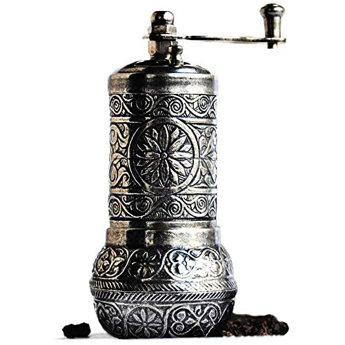 Bazaar Anatolia Pepper Mill, Spice Grinder, Pepper Grinder, Turkish Grinder (Dark Silver, 4.2