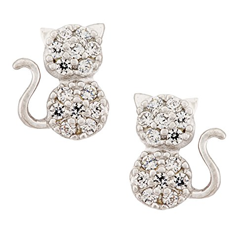 14K Yellow Gold Cubic Zirconia Cat Stud Kids Earrings With Safety Screw Backs (white-gold)